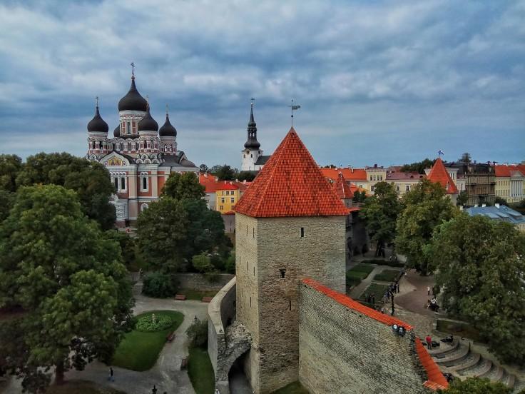 Alexander Nevsky Cathedral and City Wall viewed from Kiek in de Kök Tower Tallinn