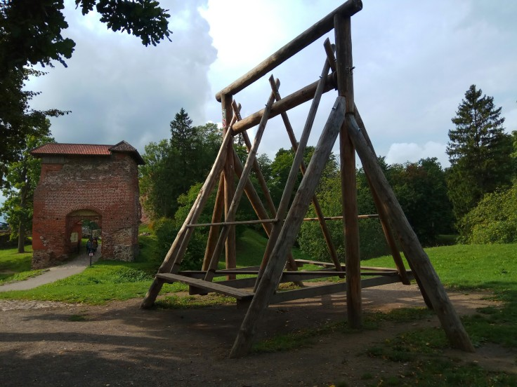 Giant traditional wooden Estonian swing at Viljandi Castle