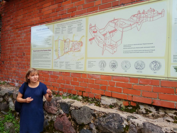 Our guide, Katarin explaining the history of Estonian language and Viljandi Castle