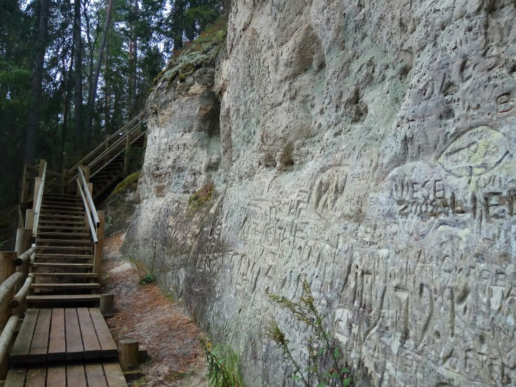 Rock carvings at Gaujas National Park in Latvia